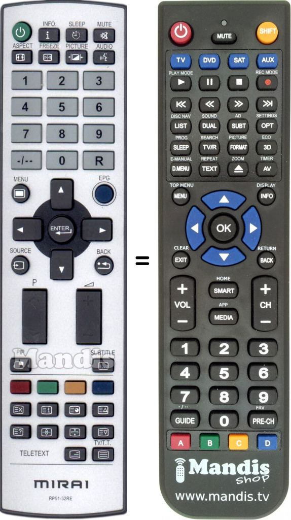 Replacement Remote Control for Mirai DTL-522P201