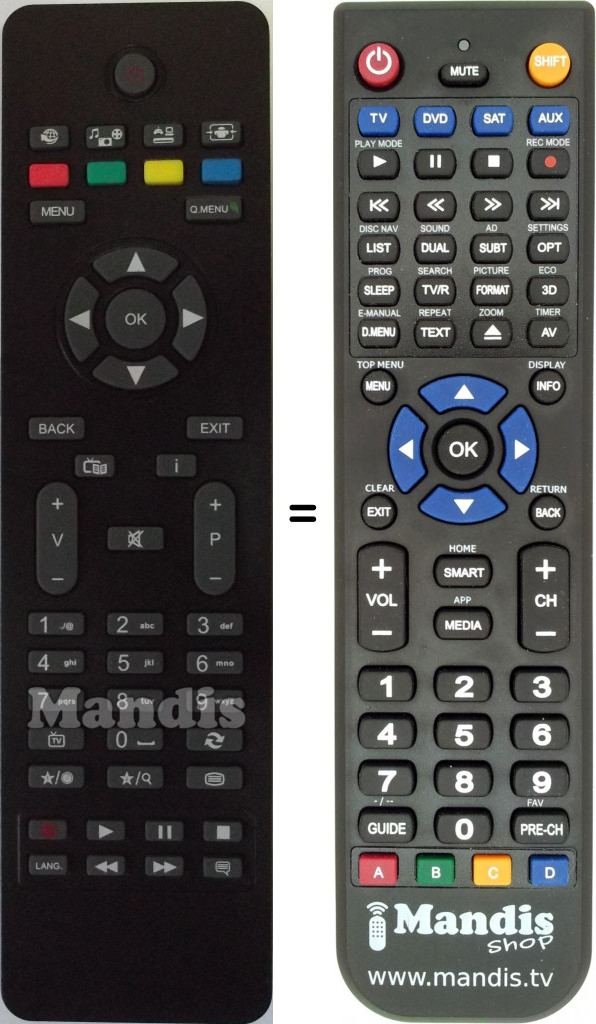Replacement remote control for RC4865 (30076971)